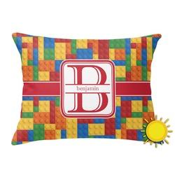 Building Blocks Outdoor Throw Pillow (Rectangular) (Personalized)