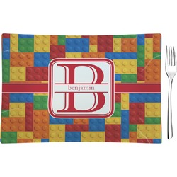 Building Blocks Rectangular Glass Appetizer / Dessert Plate - Single or Set (Personalized)