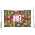 Building Blocks Glass Rectangular Lunch / Dinner Plate - Single or Set (Personalized)