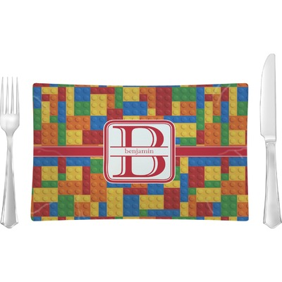 Building Blocks Glass Rectangular Lunch / Dinner Plate (Personalized)