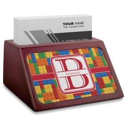 Building Blocks Red Mahogany Business Card Holder (Personalized)