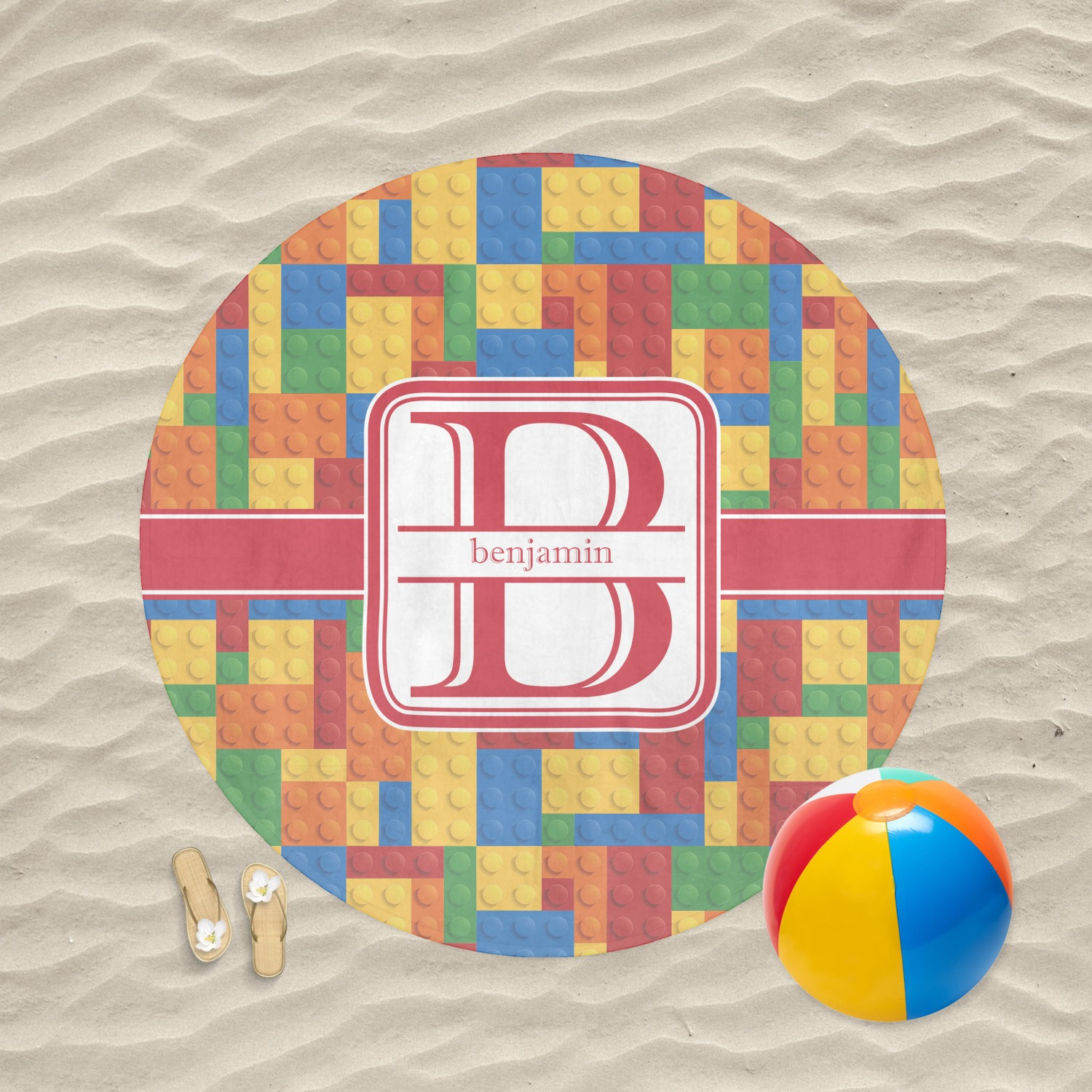 Building Blocks Round Beach Towel Personalized