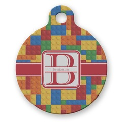 Building Blocks Round Pet Tag (Personalized)