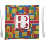 "Building Blocks Glass Square Lunch / Dinner Plate 9.5"" - Single or Set of 4 (Personalized)"