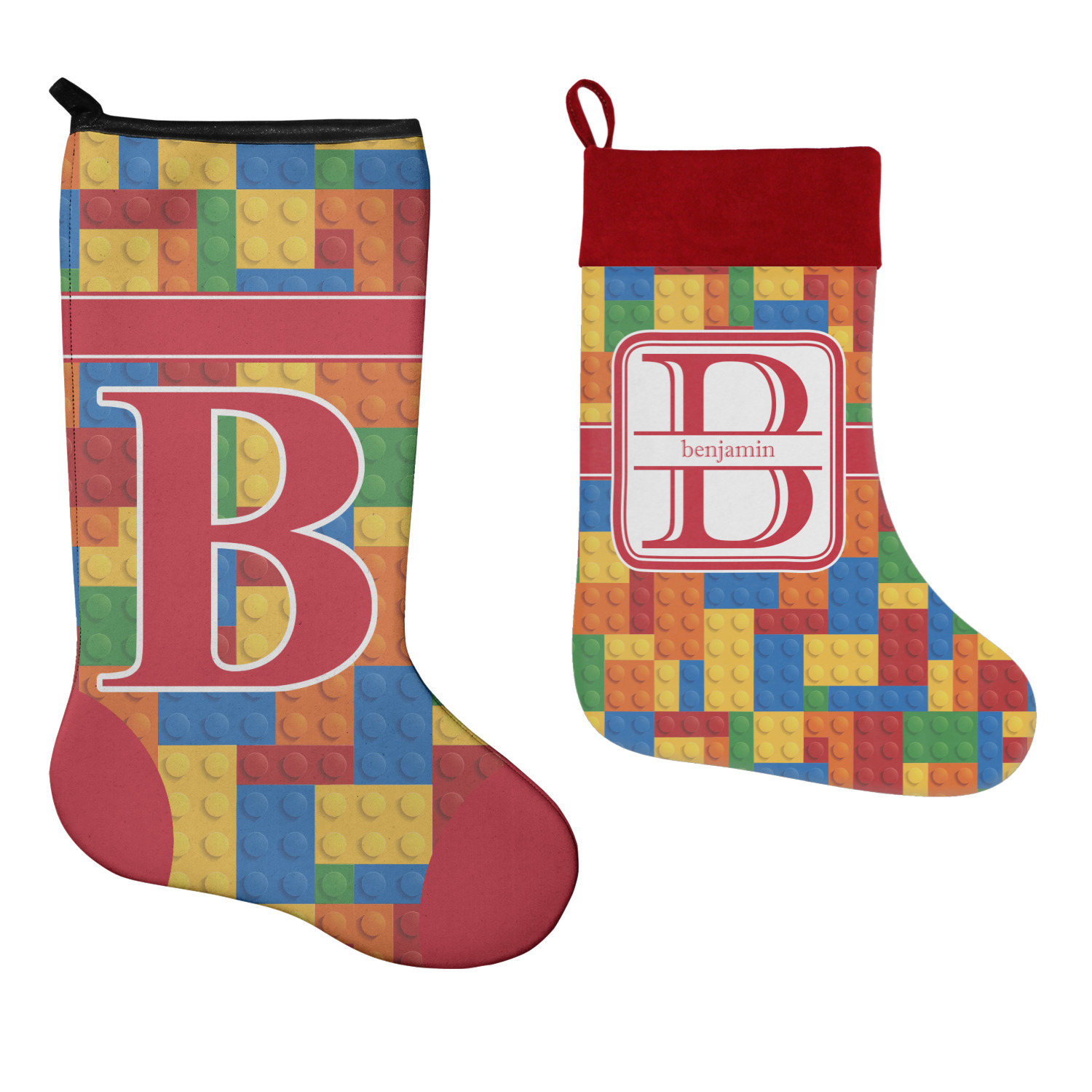 Building blocks christmas stocking single sided