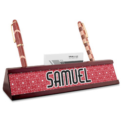 Atomic Orbit Red Mahogany Nameplate with Business Card Holder (Personalized)