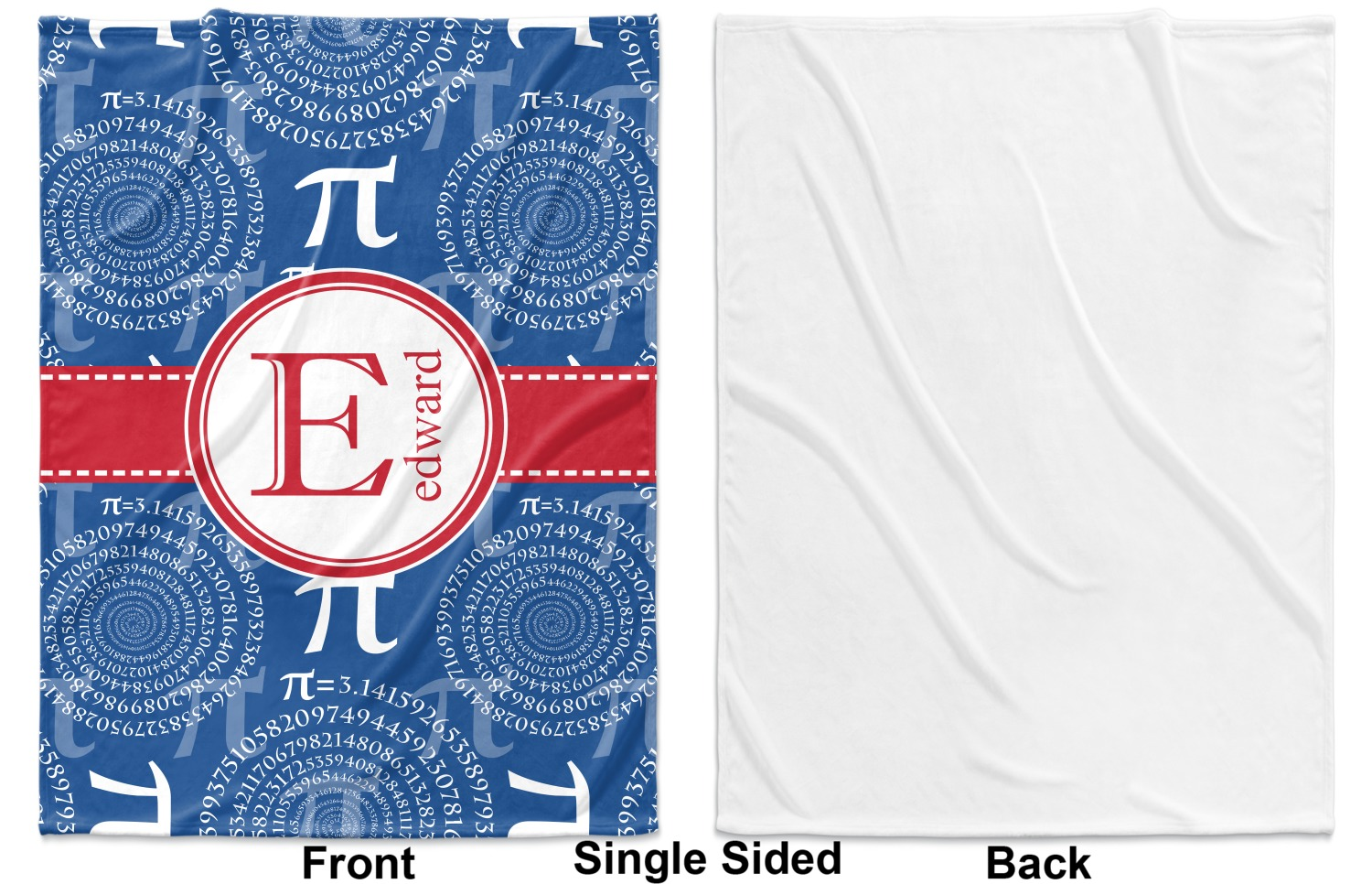 Pi fleece blanket twin full 80 x60 single sided for Full name of pi