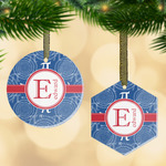 PI Flat Glass Ornament w/ Name and Initial