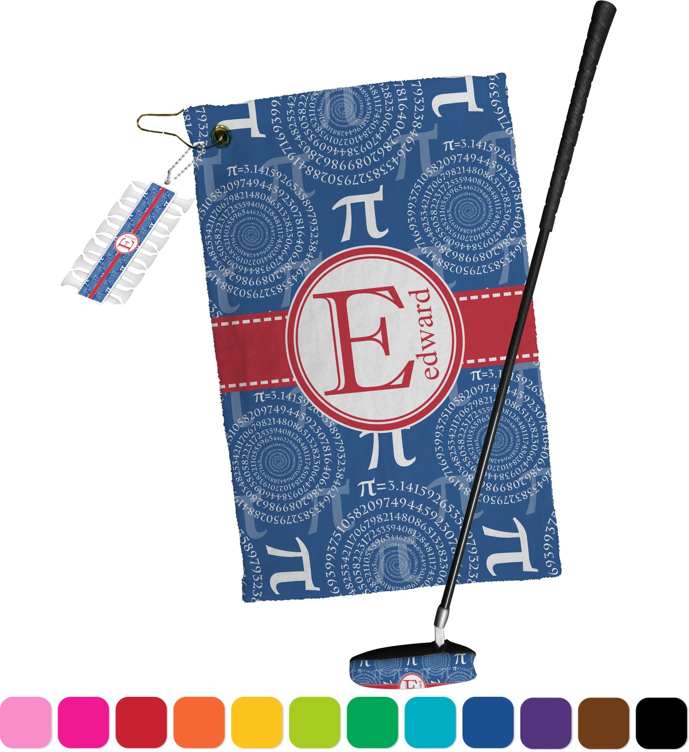 Pi golf towel gift set personalized youcustomizeit for Full name of pi
