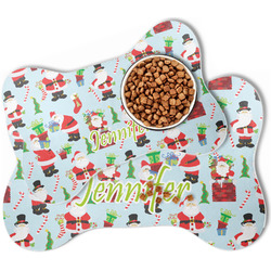 Santa and Presents Bone Shaped Dog Food Mat (Personalized)