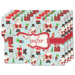 Santa and Presents Linen Placemat w/ Name or Text