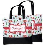 Santa and Presents Beach Tote Bag (Personalized)
