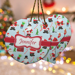 Santa and Presents Ceramic Ornament w/ Name or Text