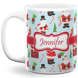 Santa and Presents 11 Oz Coffee Mug - White (Personalized)