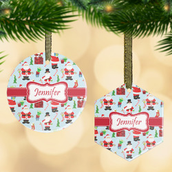 Santa and presents Flat Glass Ornament w/ Name or Text