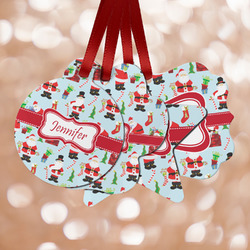 Santa and Presents Metal Ornaments - Double Sided w/ Name or Text