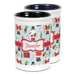 Santa and Presents Ceramic Pencil Holder - Large