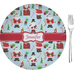 "Santas w/ Presents 8"" Glass Appetizer / Dessert Plates - Single or Set (Personalized)"
