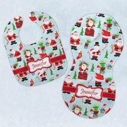Santas w/ Presents Baby Bib & Burp Set w/ Name or Text