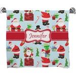 Santas w/ Presents Full Print Bath Towel (Personalized)