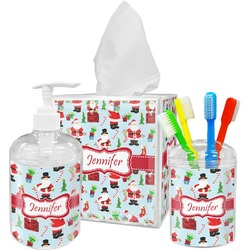Santas w/ Presents Bathroom Accessories Set (Personalized)