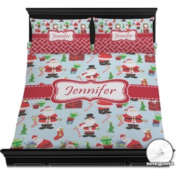 Santas w/ Presents Duvet Cover Set (Personalized)