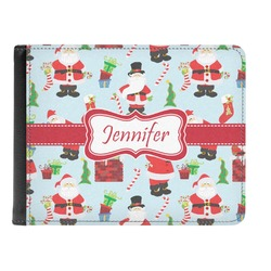 Santas w/ Presents Genuine Leather Men's Bi-fold Wallet (Personalized)