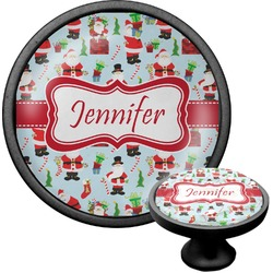 Santas w/ Presents Cabinet Knob (Black) (Personalized)