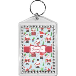 Santas w/ Presents Bling Keychain (Personalized)