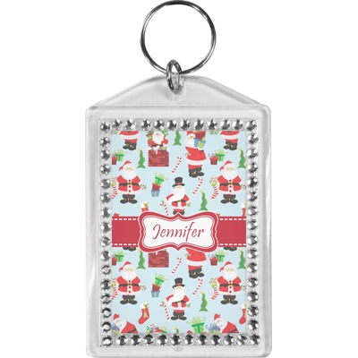 Santa and Presents Bling Keychain w/ Name or Text