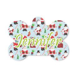 Santa and Presents Bone Shaped Dog Tag (Personalized)