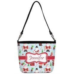 Santas w/ Presents Bucket Bag w/ Genuine Leather Trim (Personalized)