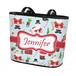 Santas w/ Presents Bucket Tote w/ Genuine Leather Trim (Personalized)