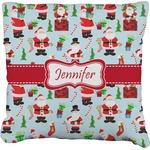 Santas w/ Presents Faux-Linen Throw Pillow (Personalized)