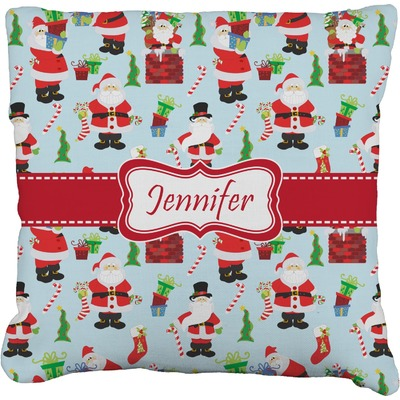 Santa and Presents Faux-Linen Throw Pillow (Personalized)