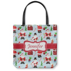 "Santas w/ Presents Canvas Tote Bag - Small - 13""x13"" (Personalized)"