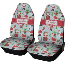 Santas w/ Presents Car Seat Covers (Set of Two) (Personalized)