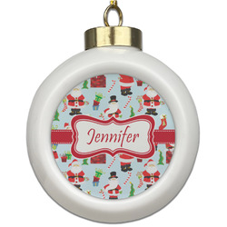 Santa and Presents Ceramic Ball Ornament (Personalized)