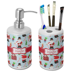 Santa and Presents Ceramic Bathroom Accessories Set (Personalized)