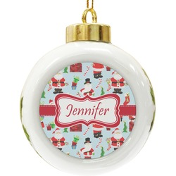 Santas w/ Presents Ceramic Ball Ornament (Personalized)