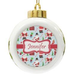 Santas w/ Presents Ceramic Ball Ornament (Personalized)