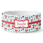 Santas w/ Presents Ceramic Dog Bowl (Personalized)