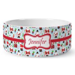 Santas w/ Presents Ceramic Pet Bowl (Personalized)