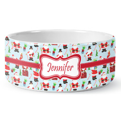 Santas w/ Presents Ceramic Pet Bowl (Personalized)