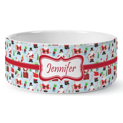 Santa and Presents Ceramic Dog Bowl (Personalized)