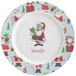 Santas w/ Presents Ceramic Dinner Plates (Set of 4) (Personalized)