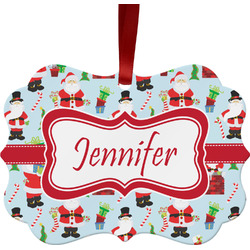 Santas w/ Presents Ornament (Personalized)