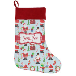 Santa and Presents Holiday Stocking w/ Name or Text