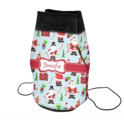 Santas w/ Presents Neoprene Drawstring Backpack (Personalized)