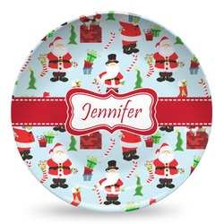 Santas w/ Presents Microwave Safe Plastic Plate - Composite Polymer (Personalized)